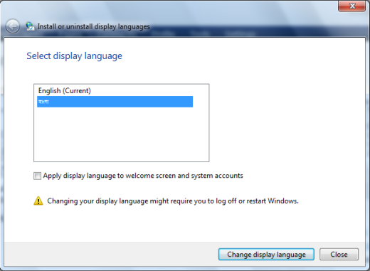 Change display language on windows 7 starter, home premium.